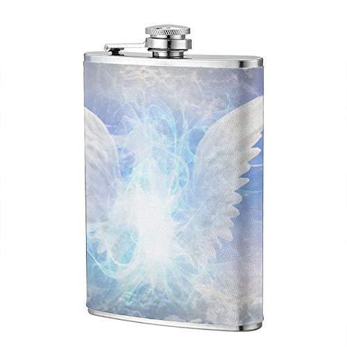 Heaven White Angel Angelic Being 8OZ Edelstahl Flachmann Lustige Männer, Groomsman, Ehemann, Ehefrau, Frauen Schnaps