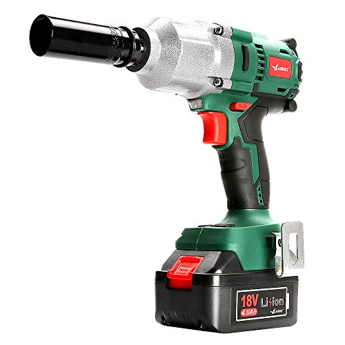 LANNERET Brushless Cordless Impact Wrench,18V Max Lithium Battery Powered Impact Wrench Kit,Max.600 N.m Torque,Hog Ring,1/2-Inch,2 Speed,4.0Ah Battery,Fast Charger,Belt Clip,Socket Included