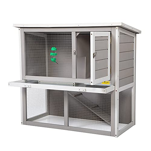 COZIWOW Rabbit Hutch Indoor Outdoor for Multiple Rabbits, Wooden Bunny Run Cage, 2-Tier Chicken Coop, Small Animal Pens...
