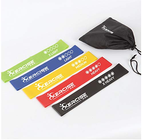 Xercise PRO Resistance Yoga Bands [Set of 5] Skin Friendly | 5 Strength Levels Loop Exercise Bands for Pilates, Training, Physio Therapy, Stretching, Home Gym | FREE Guide and Bag for Men and Women