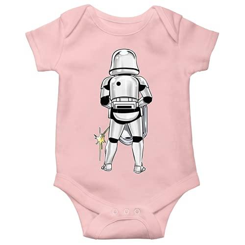 OKIWOKI Star Wars Lustiges Rosa Kurzärmeliger Baby-Bodysuit (Mädchen) - Imperial Stormtrooper (Star Wars Parodie signiert Hochwertiges Baby-Bodysuit in Größe 18 monate - Ref : 1134)