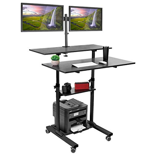 Mount-It! Mobile Standing Desk with Dual Monitor Mount - 40 Inch Wide Height Adjustable Rolling Computer Workstation with Four Wheels,