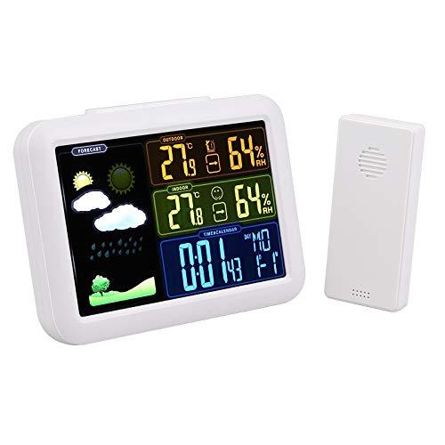 eSynic LCD Wireless Thermometer Hygrometer mit externem Sensor Funk Digital Thermohygrometer mit Netzteil Unterstützt Uhr Wecker Wetterstation Farbanzeige Hintergrundbeleuchtung