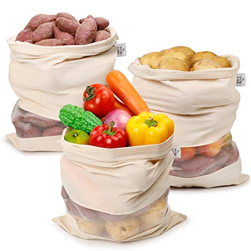 Large Reusable Produce Bags Organic Cotton Bags with Drawstring/Fruit and Vegetable Patato Storage Bags/Eco Friendly Muslin Bags for Kitchen Grocery Shopping XL 3Pcs