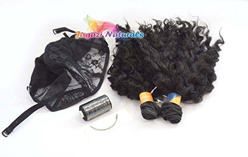 Une simple kit de perruque complet. Un lot de cheveux, Perruque complète. courbé Aiguille, fil à coudre