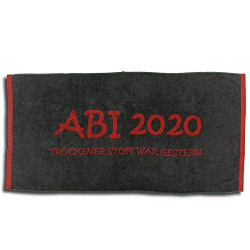 Trend Jacquard Strandlaken Strandtuch ABI 2020 Anthrazit Kaminrot Abitur Geschenk 80 cm x 160 cm