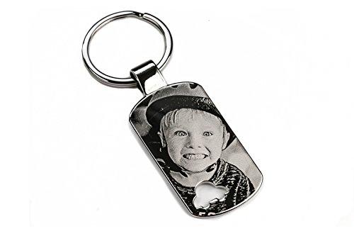 GROSSER EDLER Schlüsselanhänger DOGTAG AUTO mit Gravur | Car Key graviert | Schlüsselanhänger mit Deinem Wunsch Foto und Deinem Wunschtext | individuell personalisiert | UNIKAT (GRAVUR BEIDSEITIG)