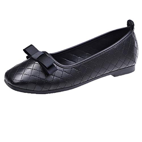 Find Cheap Women Bellet Flats Black Shallow Mouth Slip-on Ballerina Shoes Ladies Bow Square-Toed Com...