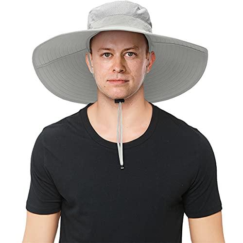 Mens Super Wide Brim Sun Hat UPF50+ UV Protection Waterproof Large Brim...