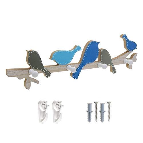 WANGYONG Perchero de Capa de Pared, Perchero de Madera con 4 Ganchos para Abrigos, Sombreros, Bufandas, Llaves, Toallas, Ropa, Azul