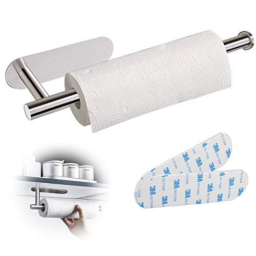 Self Adhesive Paper Towel Holder - Under Cabinet Roll Holder Mount Lengthened Stainless Paper Towel Holder No Drilling for Kitchen Bathroom