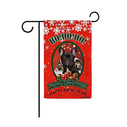 BAGEYOU Ho Ho Ho Merry Christmas with My Love Dog French Bulldog Decorative Garden Flag Welcome Winter Snow Santa Present Home Decor Banner for Outside 12.5X18 Inch Print Both Sides
