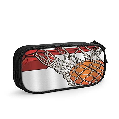 CIKYOWAY Estuche para lápices Estuche para bolígrafos Baloncesto de dibujos animados en red Baloncesto naranja Deportes, estuche de maquillaje Estuches para estudiantes Estuches para oficina Estuche