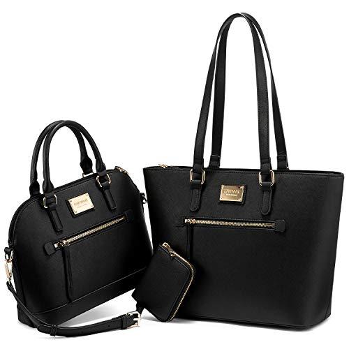 Purses for Women Fashion Handbags Tote Bag Shoulder Bags Top Handle Satchel Purse Set 3pcs Black