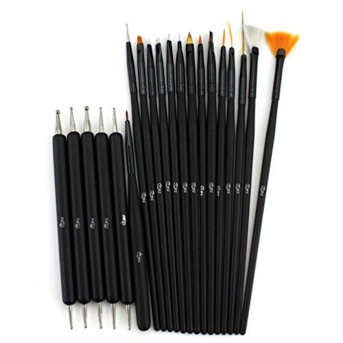 Glow 20 Piece Kit de pinceaux et d'outils de pointage pour ongles - Qualité Premium - Parfait pour les débutants et les professionnels - Kit pratique abordable avec manche en bois - Couleur noire