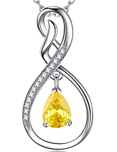 Elda&Co Christmas Jewelry Gift Love Infinity Dangle Sterling Silver Pendant Necklace Yellow Citrine Anniversary Birthday Gift for Her for Women