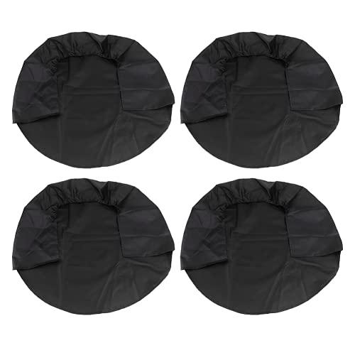 Cubierta de rueda, negro, azul real, reutilizable y lavable, de 32 pulgadas, cubierta para neumáticos, cubiertas para neumáticos de RV, 4 piezas para camiones, caravanas, remolques y otros(negro)