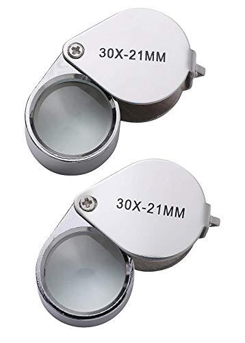 2 Pcs Mini 30X 21mm Jeweler Jeweler