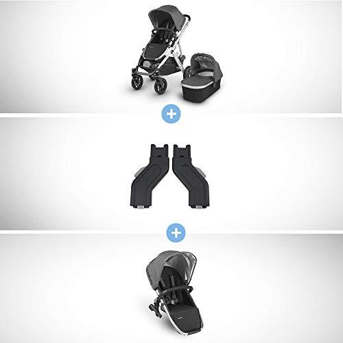 Vista Stroller+ RUMBLESEAT Bundle- Jordan (Charcoal Melange/Silver/Black Leather)