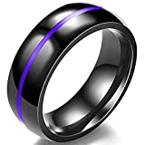 Jude Jewelers 8MM Classical Black Stainless Steel Ring Plain Wedding Band (Black Purple, 8)