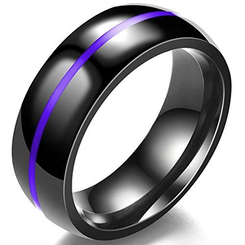 Jude Jewelers - Anillo de Boda de 8 mm de Acero Inoxidable, Color Negro