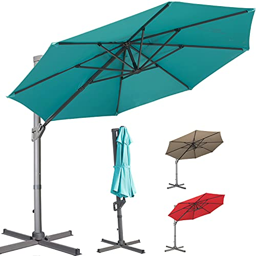 LKINBO Patio Offset Hanging Umbrella Round Deluxe...