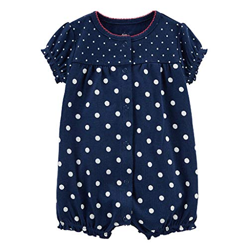 MRULIC Baby Strampler Mädchen und Jungen Einteilige Cartoon Gestreiften Bodysuit Kurzarm Overall Sommer Jumpsuit(Dunkelblau,12-18 Monate)