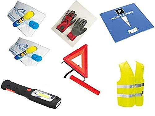 Kit auto sécurité 7 pièces : 1 gilet jaune EN471 + 1 triangle de signalisation + 1 solide paire de gants + 2 éthylotests NF + 1 disque de stationnement + 1 lampe à led à piles aimanté