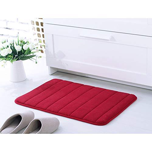 Tapis de Bain Super Absorbant en Molleton de Corail Doux Antidérapant en Microfibre Lavable en Machine, Tapis de Porte pour Salle de Bain Cuisine Paillasson Rouge Bordeaux 50X80CM