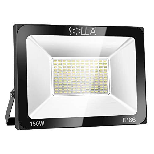SOLLA 150W LED Flutlicht Fluter 230V Außenleuchte, 12000 Lumen, 6000K Tageslichtweiß, IP66 Wasserfest, LED Scheinwerfer Außenleuchten