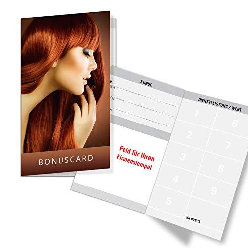200 Bonuskarten/Kundenkarten mit 9 Feldern, für Friseurgeschäft Friseur Friseursalon. Praktisches Scheckkartenformat. Außenseiten glänzend. K522