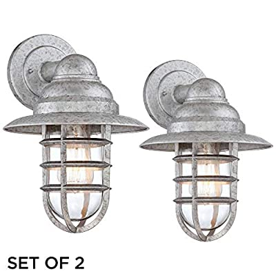 """Marlowe Industrial Farmhouse Outdoor Wall Light Fixtures Set of 2 Galvanized 13 1/4"""" Hooded Cage Clear Glass for Exterior Barn House Porch Patio Deck - John Timberland"""