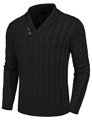 COOFANDY Men's Shawl Collar Pullover Sweater Slim Fit Casual Button Cable Knit Sweaters Black