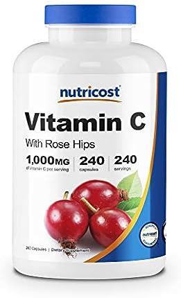 Nutricost Vitamina C con escaramujos 1025 mg, 240 cápsulas – Vitamina C 1,000 mg, Rose Hips 25 mg, Premium, sin OMG, suplemento sin gluten