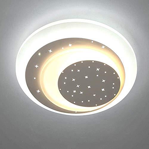 Plafonniers ronds modernes, enfants minimalistes et chambres Protection des yeux Éclairage Créativité Etoiles et Lune LED Suspension Lustre Lumière pour Salon Chambre 36W Chandeliers de Chambre d'enfa