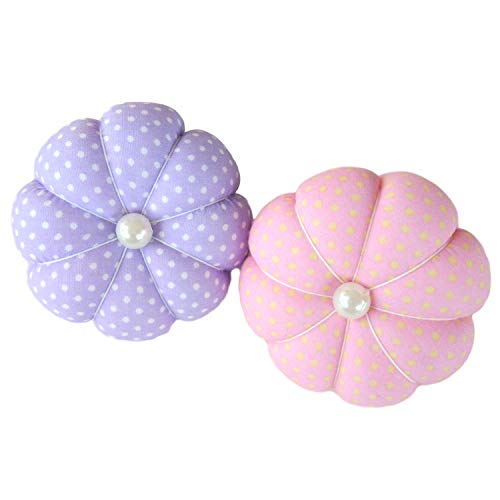 CUSHYSTORE Pink Purple Polka Dot Small Wrist Pin Needle Cushion Pincushion for Sewing with Adjustable Elastic Strap Sewer Gift, 2 Packs