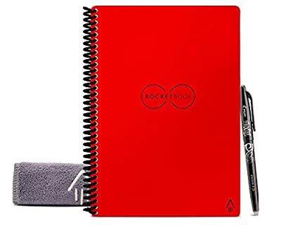 """Rocketbook Smart Reusable Notebook - Dot-Grid Eco-Friendly Notebook with 1 Pilot Frixion Pen & 1 Microfiber Cloth Included - Atomic Red Cover, Executive Size (6"""" x 8.8"""")"""