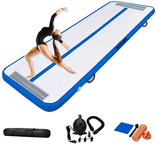 WOWSEE Tumbling - Esterilla hinchable de gimnasia de 2 a 5 m, para gimnasia, yoga, entrenamiento, niños, tumbling, parque o uso doméstico (azul, 300 x 100 x 10 cm)