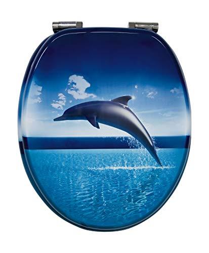 SITZPLATZ® WC-Sitz mit Absenkautomatik, Tier Dekor Dolphin Dream, Toilettensitz mit Holz-Kern & Schnellbefestigung, Standard O Form, Metallscharniere, Toilettendeckel Delfin, Fisch, 40272 9
