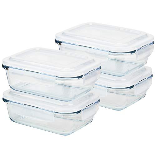 Grizzly Boîte Alimentaire en Verre Hermétiques avec Couvercle Lot de 4 Rectangulaires 640 ml - Boîtes Conservation Sans BPA