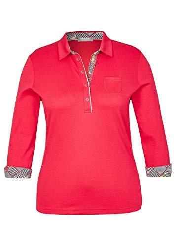 Rabe Damen Poloshirt mit Karo-Details und 3/4-Ärmel