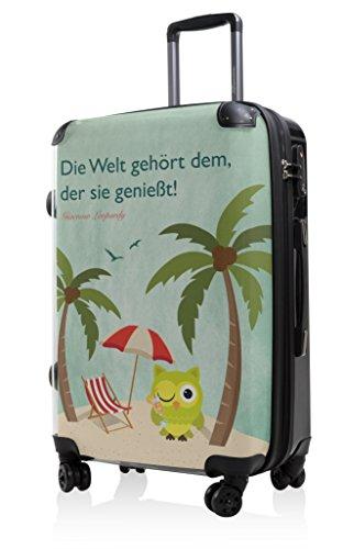 HAUPTSTADTKOFFER - Style Hartschalenkoffer Koffer Trolley Reisekoffer Reisegepäck, individuell gestalten, Geschenkidee, Design: Eule Strand Sonnenschirm