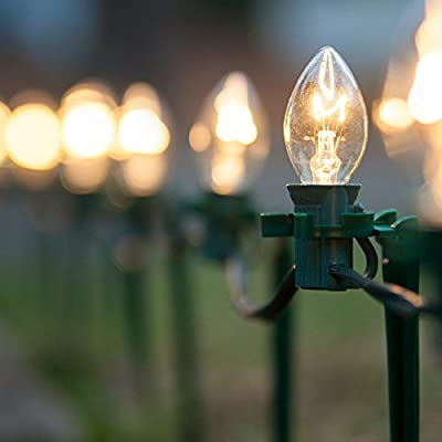 """Set of 100 C7 Christmas Pathway Lights – Walkway Lights / Driveway Christmas Lights / Christmas Stake Lights, Outdoor Christmas Lights, Green Wire, 7.5"""" Stakes, 100 Ft"""