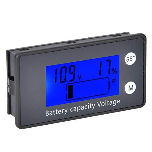 Medidor de capacidad de batería digital DC 10-100V con pantalla LCD mediana con((10-100V) blue + alarm + temperature)
