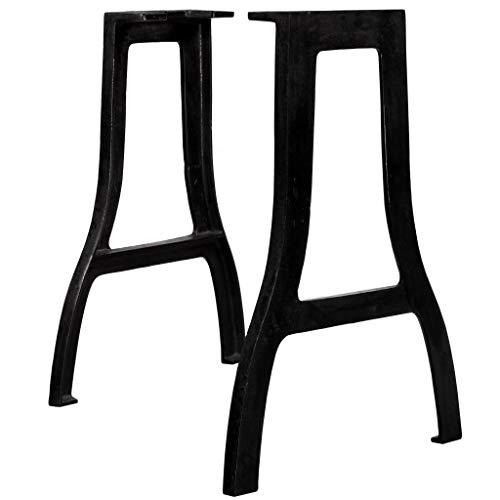 UnfadeMemory 2 Pack Patas para Mesa,Patas de Repuesto para Mesa de Comedor,Patas para Muebles,Estilo Antiguo y Industrial,Hierro Fundido,Negro (Forma A-60x72cm)