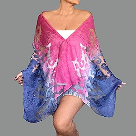 ff47f21bae176 Plus Size Blue Wrap Ombre Hot Pink Shawl Poncho Organza Scarf Top By ZiiCi