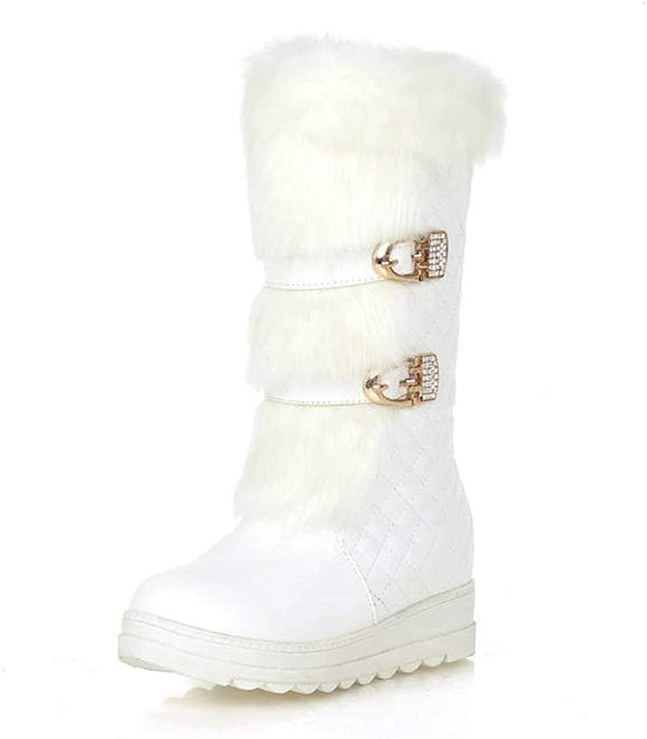 Zarbrina Womens Fur Lined Mid Calf Boots Rubber Sole an-Ti Slip Short Plush Buckle Strap Winter Warm Snow shoes