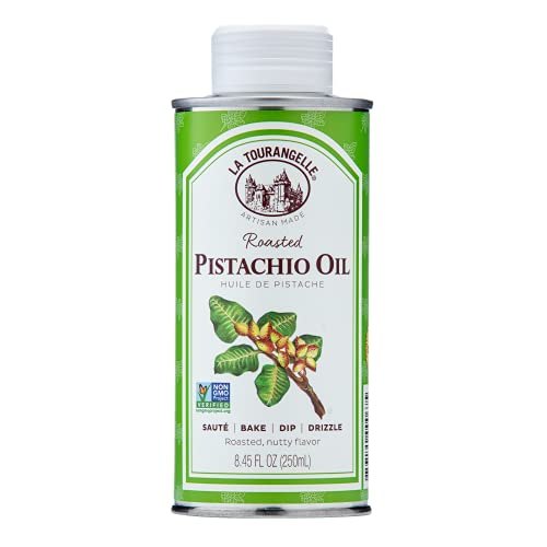 La Tourangelle, Roasted Pistachio Oil, Expeller-Pressed Oil for Cooking, Baking, and Beauty, Adds Flavor to Vinaigrettes, Sauces, Marinades, 8.45 fl oz