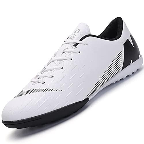 Topwolve Zapatillas de Fútbol Hombre Atletismo Training Botas de Fútbol Profesionales Aire Libre Zapatillas de Deporte de Fútbol para Niños Blanco 43 EU