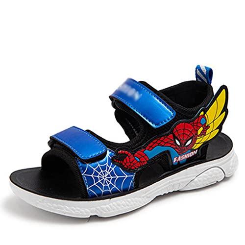 LQ-LIMAO Sandalias para Niños Cómodos Zapatos Abiertos Chanclas De Spiderman Antideslizantes Verano Cuero Artificial Niñas,Blue- 27 iner Lengh 17cm